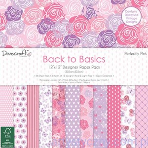 Papiery Ozdobne - Back to Basics Perfectly Pink - 30,5x30,5 cm ~ 36 ark