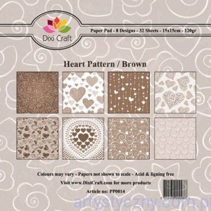 Papiery Dixi Craft - 15x15cm Heart Pattern/Brown PP0014