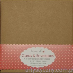 "Kartki i Koperty - Dovecraft Kraft 6""x6"" Cards & Envelopes - Brązowe"
