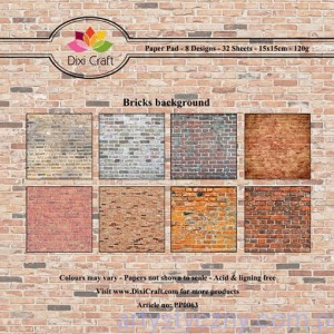 Papiery Dixi Craft - 15x15cm Bricks Background PP0063