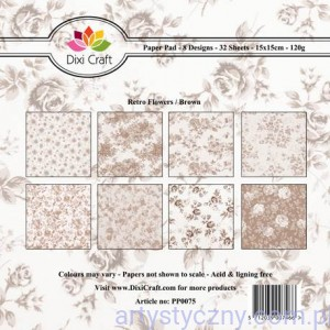 Papiery Dixi Craft - 15x15cm Retro Flowers - Brown PP0075