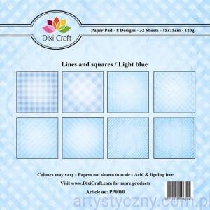 Papiery Dixi Craft - 15x15cm Lines and Squares/Blue PP0060