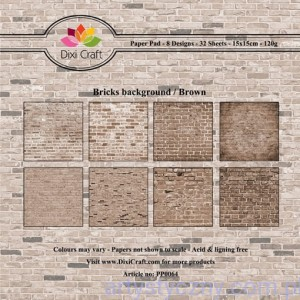 Papiery Dixi Craft - 15x15cm Bricks Background/Brown PP0064