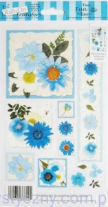 Rub-On Transfers - Rubonsy Kalkomania - TURQUOISE FLOWERS
