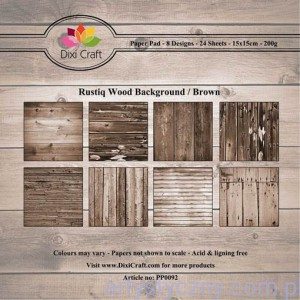 Papiery Dixi Craft - 15x15cm  Rustiq Wood Background Brown PP0092