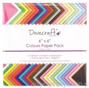 Dovecraft Paper Pack - Colours - 72 arkusze - 15x15 cm