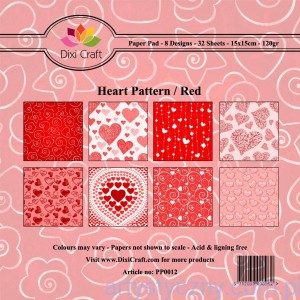 Papiery Dixi Craft - 15x15cm Heart Pattern/Red PP0012