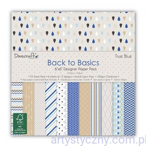 Papiery Ozdobne - Back to Basics True Blue - 15,3x15,3 cm ~ 72 ark