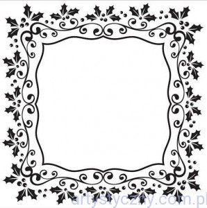 Folder Nellie - Christmas Rectangle Holly Frame - Ramka Ostokrzew - EFE025