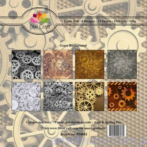 Papiery Dixi Craft - 15x15cm Gears Background PP0082